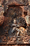 Apsara που χαράζεται στον τοίχο ναών σε Angkor Wat Στοκ Εικόνες
