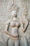 Apsara высекая на провинции Камбодже Angkor Wat Siem Reap Стоковые Изображения