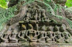 Apsara высекло на стене Angkor Wat, Камбоджи Стоковое Изображение RF