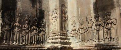 Apsara. All around on the wall at Angkor wat Royalty Free Stock Image