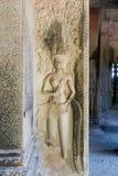 Apsara anaglyphy im Tempel von Angkor Stockbilder