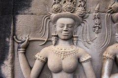 An Apsara in Angkor wat, Cambodia Royalty Free Stock Photos