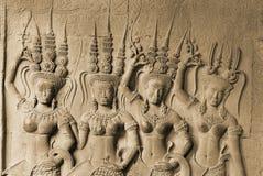 Apsara, Angkor Wat. Ornate bas-reliefs of Apsara on the inner wall of Angkor Wat, Cambodia Stock Photography