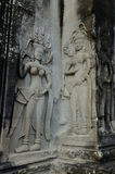 Apsara bas-relief in Angkor Wat temple Royalty Free Stock Photography