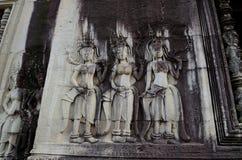 Apsara bas-relief in Angkor Wat temple Royalty Free Stock Image