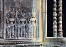 Apsara bas relief in Angkor Wat Royalty Free Stock Photo