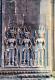 Apsara bas relief in Angkor Wat Stock Photography