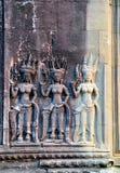 Apsara bas relief in Angkor Wat Stock Photography