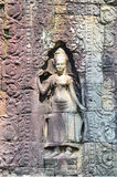 Apsara bas relief in Angkor Wat Royalty Free Stock Photography