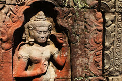 Apsara carved on temple wall in Siem Reap, Cambodi Royalty Free Stock Image