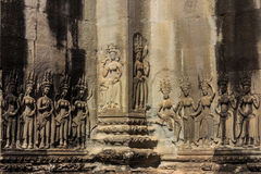 Apsara carved on the wall of angkor wat Royalty Free Stock Photos