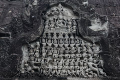 Apsara carved on the wall of Angkor Wat, Cambodia. Bas-relief of Bayon Temple in the Angkor Area near Siem Reap. Cambodia Stock Photography