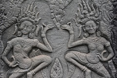 Apsara carved on the wall of Angkor Wat, Cambodia Royalty Free Stock Photos