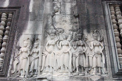 Apsara carving at Angkor Wat Siem Reap Province Cambodia Royalty Free Stock Images