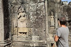 Apsara carving at Bayon temple, Angkor, Cambodia Stock Photos