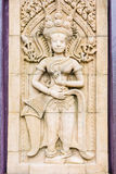 Apsara carvings statue on the wall ,Cambodian art Stock Photo