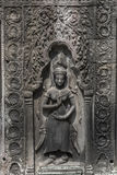 Apsara carvings status on the wall of Angkor temple, world herit. Age,  Siemreap, Cambodia Royalty Free Stock Photography
