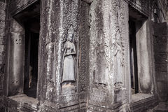 Apsara carvings status on the wall of Angkor temple, world herit. Age,  Siemreap, Cambodia Royalty Free Stock Images
