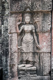 Apsara carvings status on the wall of Angkor temple, world herit Stock Images