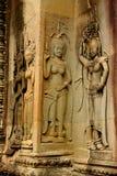 Apsara-Carvings von Angkor Wat Tempel in Siem- Reapstadt von Kambodscha lizenzfreie stockbilder