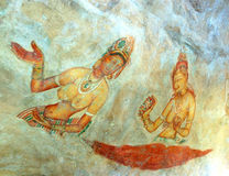 Apsara celestial nymphs - ancient painting Royalty Free Stock Photography