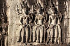 Apsara. Cierre en roca. Siem Reap. Imagenes de archivo