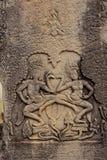 Apsara cyzelowanie w Bayon świątyni, Apsara taniec obraz royalty free
