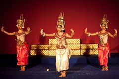 Apsara Dance, Cambodia. PHOM PENH, CAMBODIA - JANUARY 10: Khmer classical dancers performing in  traditional costume on January 10, 2013 in Phnom Penh, Cambodia Stock Photos
