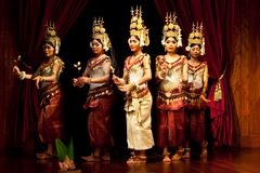 Apsara Dance, Cambodia. Khmer classical dancers performing in traditional costume on January 04, 2013 in Siem Reap, Cambodia. Apsara Dance is the ancient Royalty Free Stock Photos