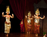 Apsara Dance, Cambodia. Khmer classical dancers performing Apsara Dance in traditional costume on January 11, 2013 in Siem Reap, Cambodia. Apsara Dance is the Stock Photography