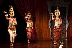 Apsara Dance, Cambodia. Khmer dancers performing Apsara Dance in traditional costume on January 11, 2013 in Siem Reap, Cambodia. Apsara Dance is the ancient Stock Photos