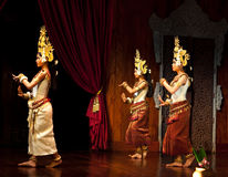 Apsara Dance, Cambodia. SIEM REAP, CAMBODIA - JANUARY 11: Khmer dancer girls performing in traditional costume on January 11, 2013 in Siem Reap, Cambodia. Apsara Royalty Free Stock Photography