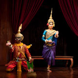 Apsara Dance, Cambodia. SIEM REAP, CAMBODIA - JANUARY 11: Two young cambodian dancers performing in traditional costume on January 11, 2013 in Siem Reap Stock Images