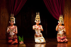 Apsara Dance, Cambodia. Three young cambodian actors performing in traditional costume on January 11, 2013 in Siem Reap, Cambodia. Apsara Dance is the ancient Royalty Free Stock Photography