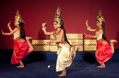 Apsara Dance Show, Cambodia. PHNOM PENH, CAMBODIA - JANUARY 10, 2013: Khmer classical dancers performing Apsara Dance. Apsara Dance is the ancient classical Stock Photos