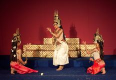 Apsara Dance Show, Cambodia. PHNOM PENH, CAMBODIA - JANUARY 10, 2013: Khmer classical dancers performing Apsara Dance. Apsara Dance is the ancient classical Stock Photo