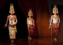 Apsara Dance. SIEM REAP, CAMBODIA - JANUARY 11: Khmer classical dancers performing in traditional costume on January 11, 2013 in Siem Reap, Cambodia. Apsara Stock Photography