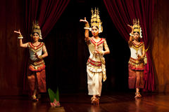 Apsara Dance. SIEM REAP, CAMBODIA - JANUARY 11: Khmer classical dancers performing in traditional costume on January 11, 2013 in Siem Reap, Cambodia. Apsara Stock Photos