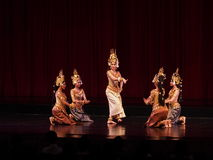Apsara dance. Thai National theater - DEC 19: Cambodian dance show marking 65 years of diplomatic relation between Thailand and Cambodia on Dec 19, 2015 in Royalty Free Stock Image