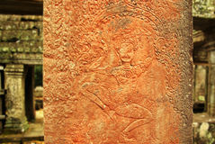 Apsara dancer bas-relief on ancient Angkor temple Stock Images