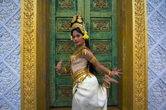 Apsara Dancer Performance in Temple Stock Image