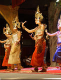 Apsara dancer in red skirt Royalty Free Stock Photography