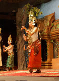 Apsara dancer in red skirt Royalty Free Stock Photos