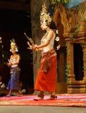 Apsara dancer in red skirt Stock Images