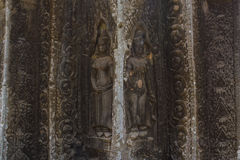 Apsara dancer stone carving at Angkor Wat temple. Siem Reap, Cambodia royalty free stock photography