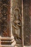 Apsara dancer stone carving at Angkor Wat temple Royalty Free Stock Photo