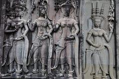 Apsara dancers. Apsaras dancers sculpure at Angkor Wat< Cambodia Royalty Free Stock Images