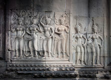 Apsara dancers, bas-relief of Angkor, Cambodia Stock Images