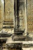 Apsara dancers, carvings. Stone carvings of Apsara dancers at Angkor Wat in Cambodia royalty free stock photos