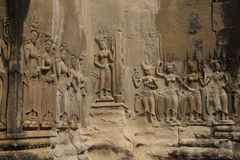 Apsara dancers decorate Angkor Wat Royalty Free Stock Image